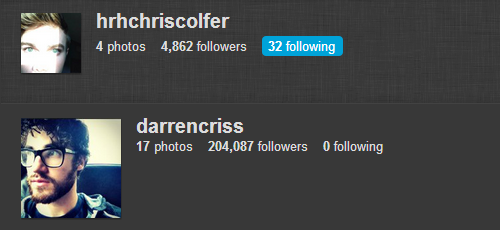 Chris Colfer is now following Darren Criss on instagram. [x]