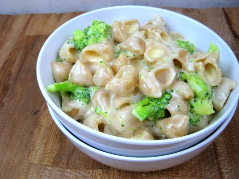 creamy broccoli and cheddar mac and cheese.