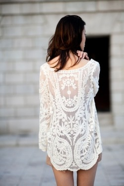 // white lace dress //