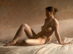 artbeautypaintings:Seated nude dusk - Jacob Collins