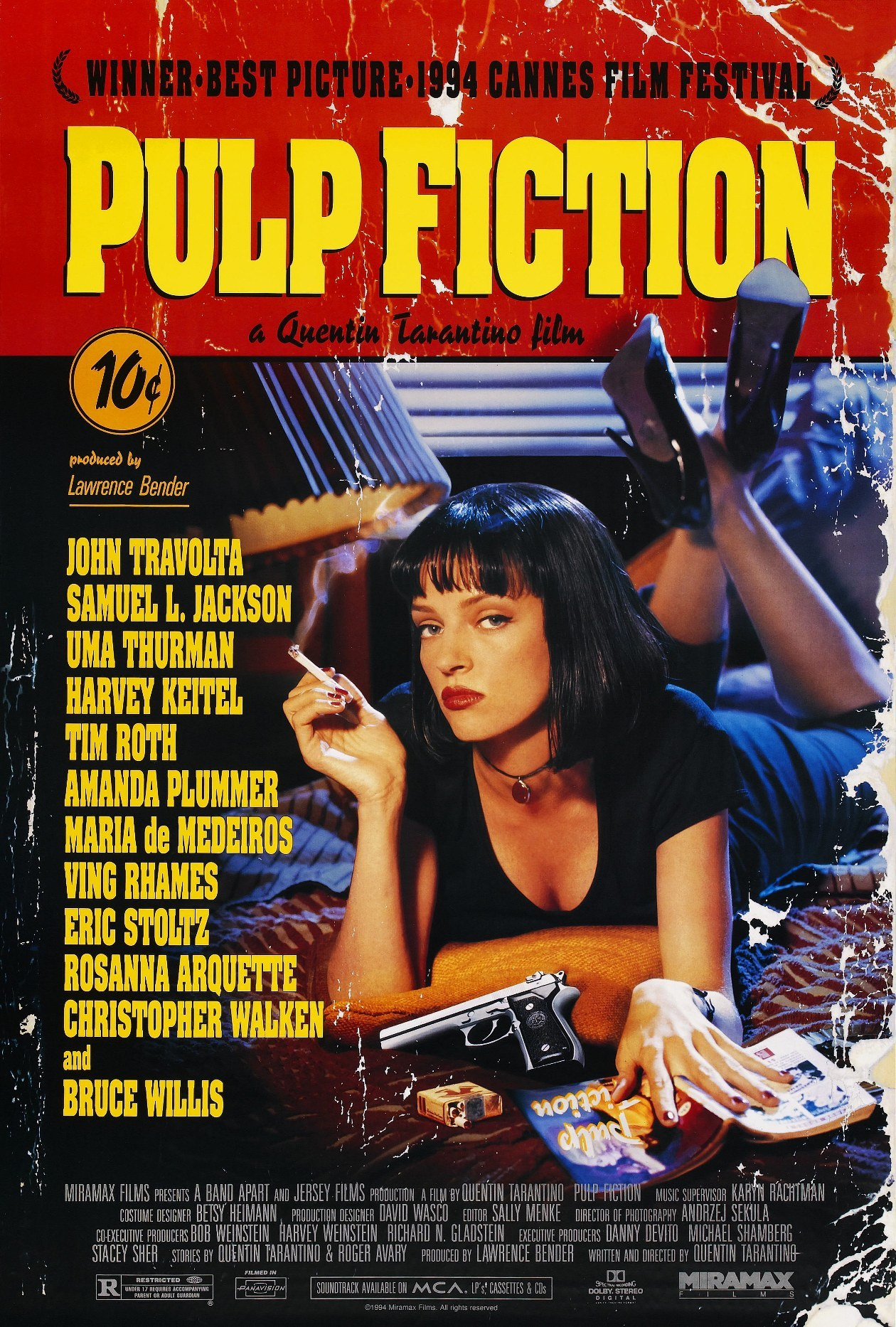 13. Pulp Fiction Arguably writer/director Quentin Tarantino's best movie, Pulp Fiction is just an iconic piece of American cinema history. I watched it again today because I learned that some hallmates of mine has never seen it before. I'm glad they saw it and they enjoyed it. Pulp Fiction, like other Tarantino films, is not for everybody, but if you can stand Tarantino's brand of humor and violence then you owe it to yourself to watch Pulp Fiction.