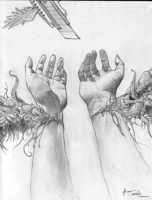skinny-depression:  this really, really gets to me. you see the blade up there, with wings. like it's the savior and an angel coming when we need it the most. the open wrists releases dark emotions and dark powers and dark monsters that's inside of us, that's being let out when the angel, the blade, cuts the wrist open and makes it all better.  this photo is just way too powerful not to reblog. everything in this photo makes so much sense