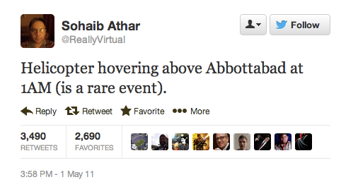 This history-making tweet is two years old today. Context: Abbottabad resident Tweets raid on bin Laden compound.