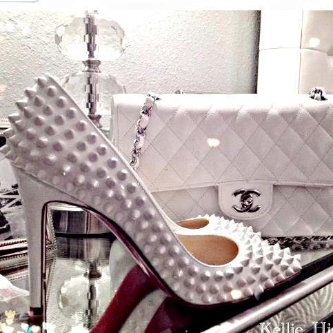 All white! #spikes #white #shoelove #chanel #louboutin #ss13