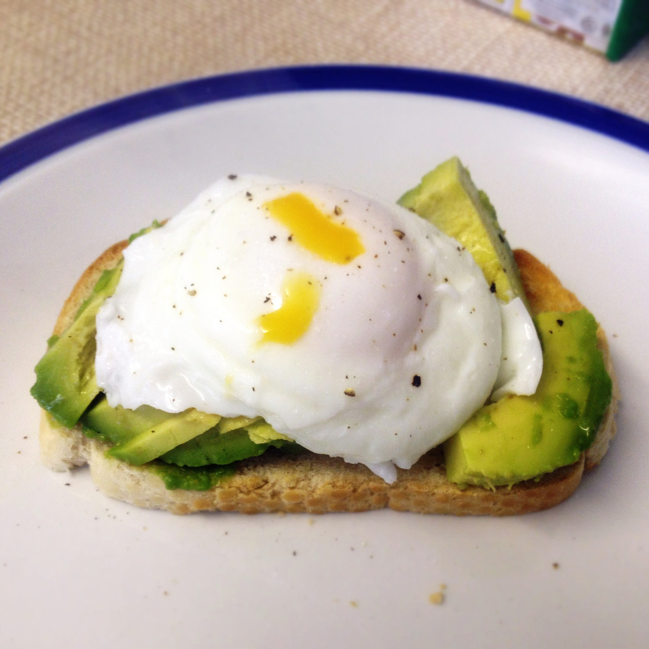 twinfood:  Poached egg with avocado on toast. Phoebe