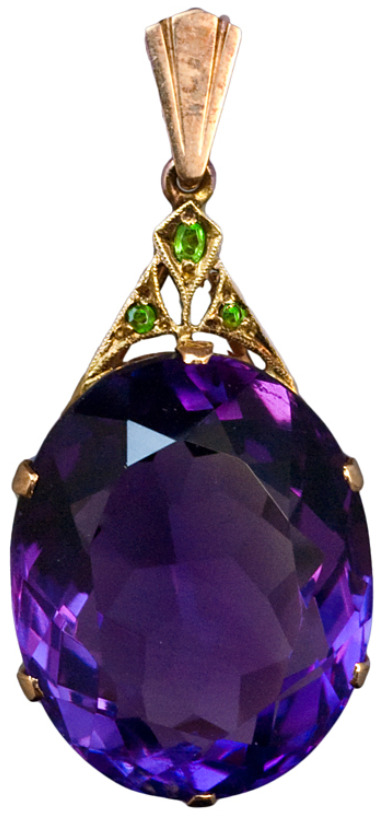 diamondsinthelibrary:  Art Deco Siberian Amethyst Pendant c. 1930. An Art Deco Siberian Amethyst, Demantoid Garnet and Rose Gold Pendant.The pendant features an oval cut large Siberian amethyst with an approximate weight of 30,5 carats. The Art Deco gold mount is set with three Uralian demantoids. Via 1stdibs.