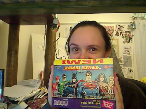 My mom bought justice league fruit snacks. because my brother doesn't eat them, she told me i could keep them in my room. yay