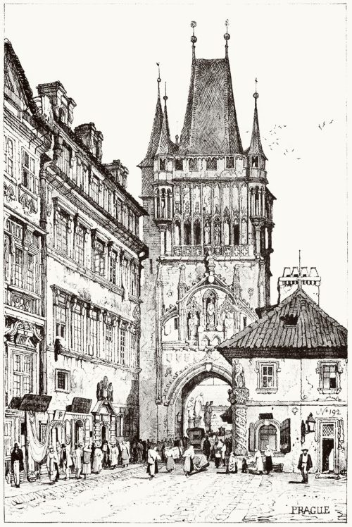 Prague.  Samuel Prout, from Sketches by Samuel Prout, by Charles Holme, London, 1915.  (Source: archive.org)