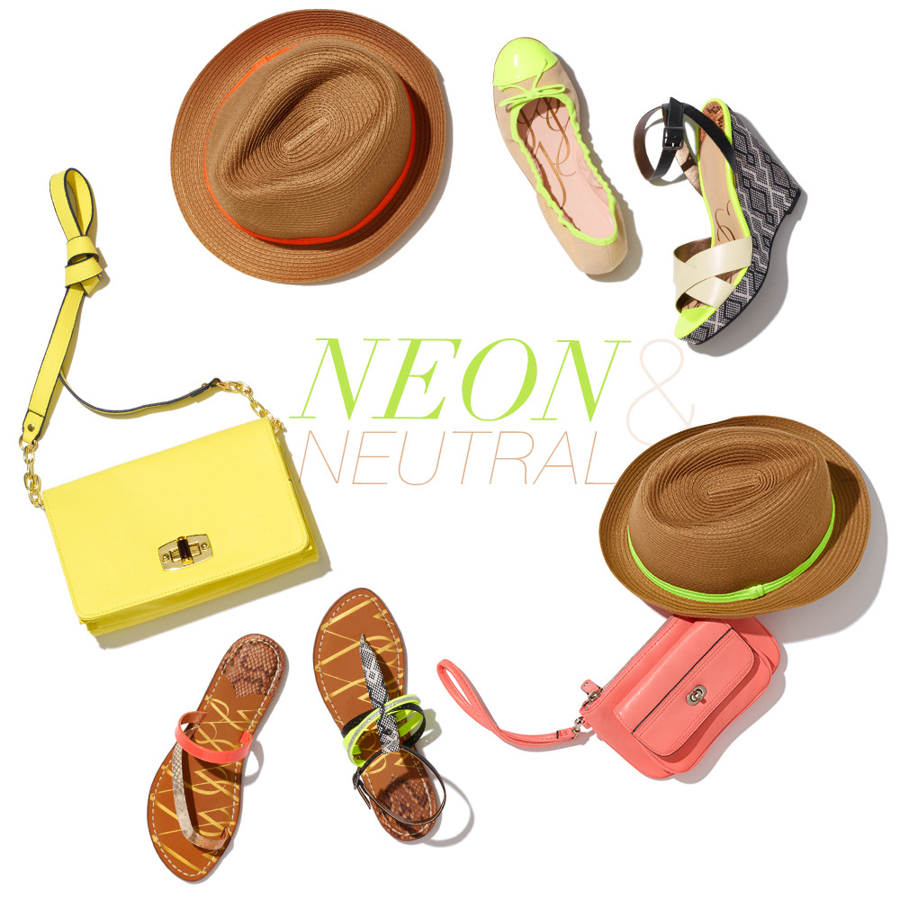 Neon & NeutralMove over Ashton and Mila. Neon & neutral are the hottest couple in town. Here are the perfect accessories for any outfit this spring.own it now: neon orange brimmed straw hat. neon yellow ballet flat. acid green wedge. neon green brimmed hat. coral clutch. acid green and snakeskin sandal. gold snakeskin and coral sandal. yellow bag.