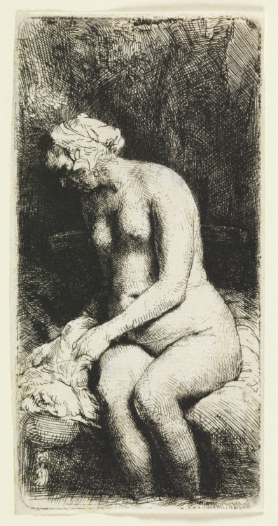 "centuriespast:  Artist: Rembrandt Harmensz van Rijn Print, ""Woman Bathing her Feet at a Brook"", 1658.  National Design Museum"