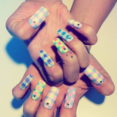 Square #Pastel #Plaid for #spring13 by @mpnails #nailinghollywood