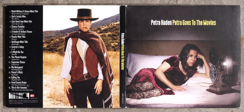 "Front and back cover photos for Petra Haden's ""Petra Goes To The Movies"" album of a'cappella movie theme songs out now on #AntiRecords.  Back cover photo re-creation of The Man With No Name character portrayed by actor Clint Eastwood in the film A Fistful Of Dollars."