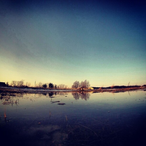 """Its sad to see this, snow is melting""#gopro #goprolife #goproaddict #goprohero3whiteedition #gopropole #goprophotography #water #puddle #reflection #outside #backyard #countryside #trees #barn #winter #badwinter #sofar #filter #XPro #followme #please #canada #ontario"