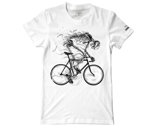 """Go Like Hell' skeleton cyclist T-shirt design for Howies."