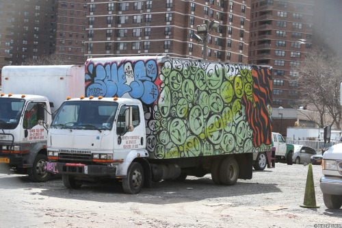 thedustyrebel:  Graffiti Truck Lower East Side, NYCMore photos of graffiti trucks and vans.