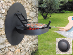 "bennyneedsthis:  What Benny Needs: Focus-Creation Folding Wall Mounted BBQ Grill Why Benny Needs This: BBQing is a rite of passage performed generation after generation across the globe. Why do you think so many dads don the ceremonial apron, cleanse the grill every summer, carefully prepare the tools of the ritual: tongs, skewers, spatula and various savory elixers, before sacrificing their meaty offerengs in a small pit of fire to the sun-blood god Barabebecuegenon? If they don't who knows what the mighty Barabebecuegenon may do? A good old fashion smiting?And if your offering is paltry, then you will burn… your food into bricks of tasteless death.Thankfully, our French speaking saviors at Focus-Creation have done us a huge solid by making a wall-mounted grill that can pretty much be affixed to any wall. It's a god damned spacesaver. You can adjust the height to however tall or short you are and grill the shit out of some hot dogs and some ribs. Maybe even toss a couple of shrimp skewers on there for the ""vegetarians"". Thank you o'mighty Barbebecuegenon for this our summer feast. And my you rain sweet hellfire down on all vegans."