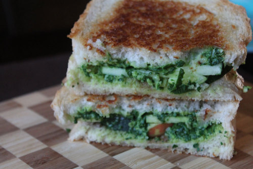 vegfest-and-a-run:  zucchini apple with garlic spinach spread panini from the unintentional vegan