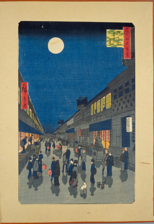 night view of sarukawa-machi, utagawa hiroshige, c1850's