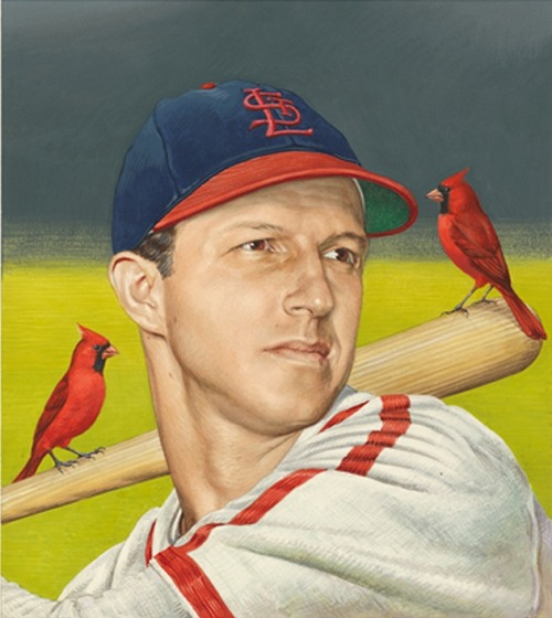 (via National Portrait Gallery | Face to Face blog: Stan Musial, 1920 – 2013)  Stanley Frank Musial - by Boris Chaliapin