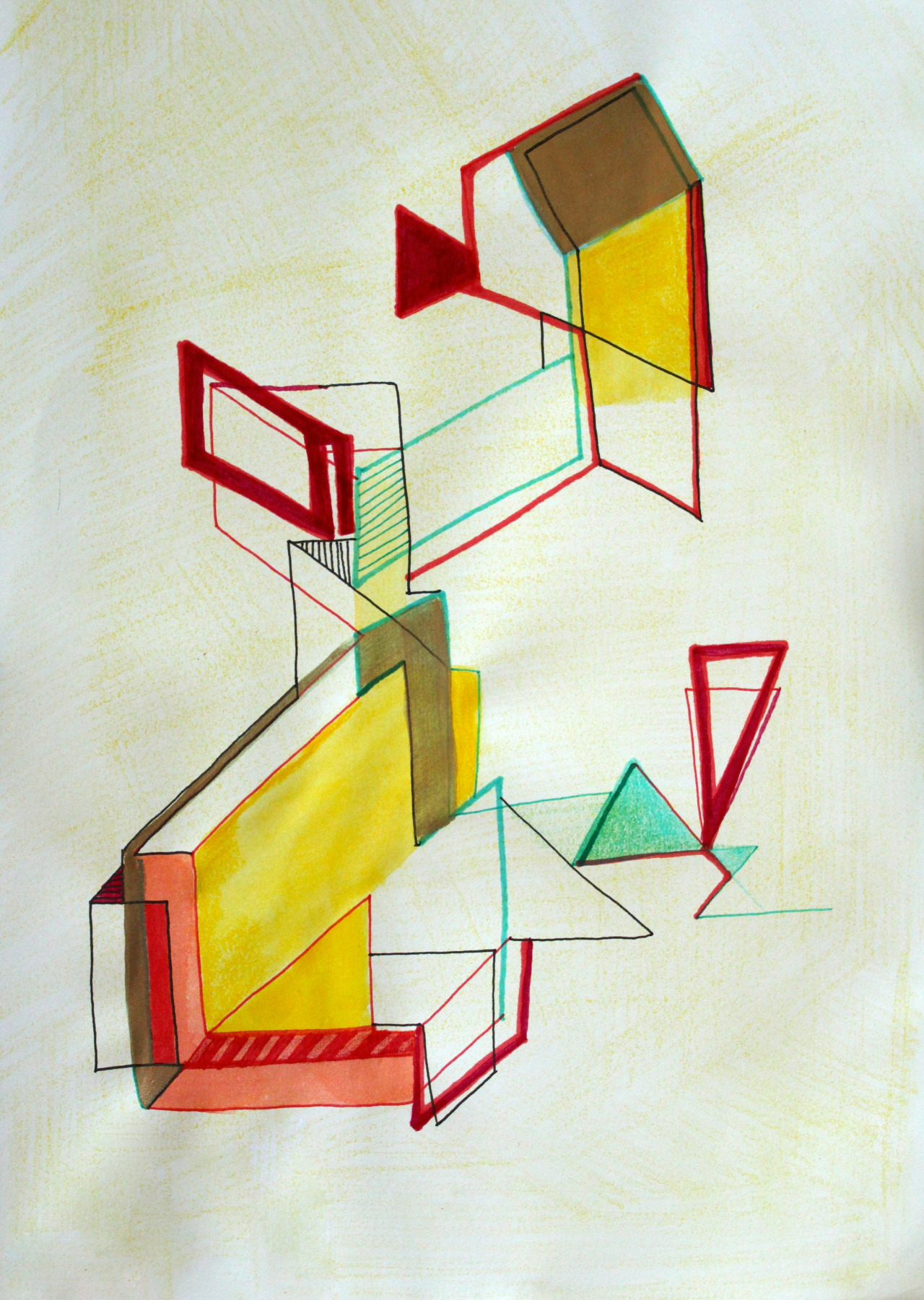 "Ink, marker, fluid acrylic, colored pencil and pastel on paper8"" x 10""2013"