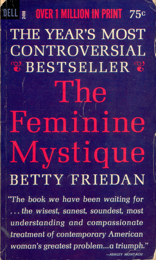 "thepenguinpress:  Betty Friedan's classic of second-wave feminism turns 50 today. The New York Times' Jennifer Scheussler offers a reappraisal:  Indeed, some cracking its spine for the first time — as more than one commentator on the 50th anniversary has sheepishly confessed to doing — may be surprised at just how scholarly the book is. Friedan, who claimed she gave up a prestigious Ph.D. fellowship in psychology after a boyfriend said it would threaten their relationship, spent years in the New York Public Library, digging as deeply into the theories of Freud, Margaret Mead, A. H. Maslow and David Riesman as into the women's magazines she blasted for perpetuating the mythology of the ""happy housewife."" Today that immersion in midcentury social science may make the book feel dated and more of a symbolic totem than a direct inspiration to current feminists. But to historians ""The Feminine Mystique"" remains a rich keyhole into the popular culture of the 1950s — even if, as scholars increasingly argue, that decade was far less monolithic in its stultifying conformism than Friedan's best seller suggested. In an influential 1993 paper on postwar popular culture, the historian Joanne Meyerowitz argued that mass-circulation magazines of the 1950s frequently profiled women with careers, although the articles emphasized the importance of maintaining a traditional feminine identity. More recently, other scholars have pointed out that readers encountering ""The Feminine Mystique"" through the excerpts that appeared in women's magazines might not have heard an entirely empowering message. In ""Mom: The Transformation of Motherhood in Modern America"" (2010), the historian Rebecca Jo Plant argued that to many readers, the book seemed less like a progressive rallying cry than a continuation of the housewife-bashing of books like Philip Wylie's 1942 best seller, ""Generation of Vipers,"" which blamed over-involved mothers for all manner of social ills. For all she got right, Ms. Plant wrote, ""Friedan missed — indeed, she contributed to — the frustrations many women felt due to a cultural climate that constantly denigrated mothers and homemakers."" Still, few historians quarrel with the idea that the book galvanized women, including some who would hardly seem like natural political allies of a writer who (as the historian Daniel Horowitz revealed in his 1998 biography, to Friedan's displeasure) cut her teeth as a reporter for radical newspapers and had a file with the F.B.I."