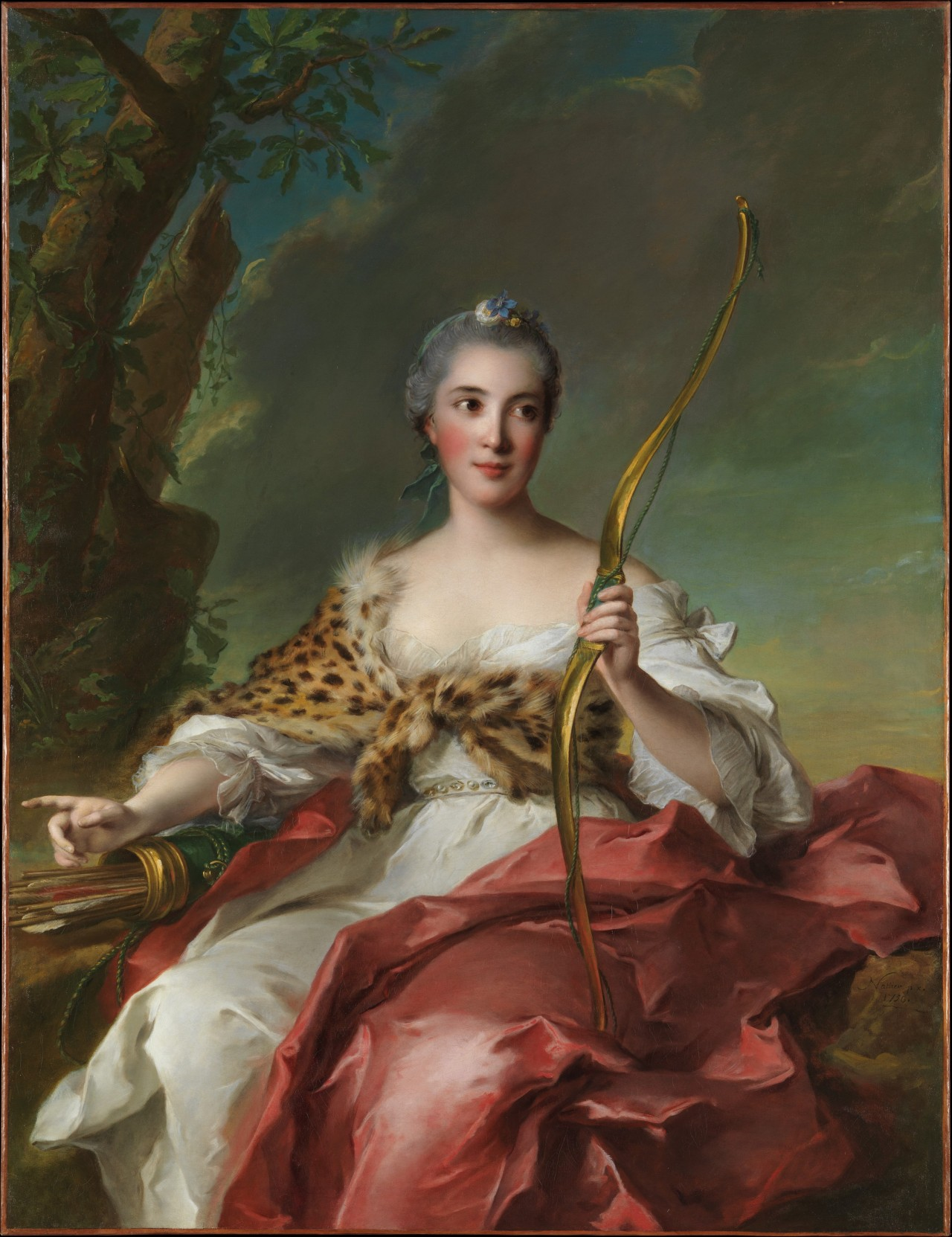 Madame de Maison-Rouge (1756) as Diana (goddess of the hunt in Roman mythology) by Jean Marc Nattier  (French painter, 1685–1766).