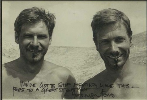 Harrison Ford and stuntman Vic Armstrong on the set of Raiders of the Lost Ark (1981)