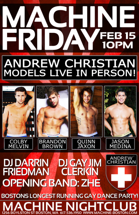 andrewchristian:  Attention Boston!  Would live to meet Colby Melvin and Brandon Brown.