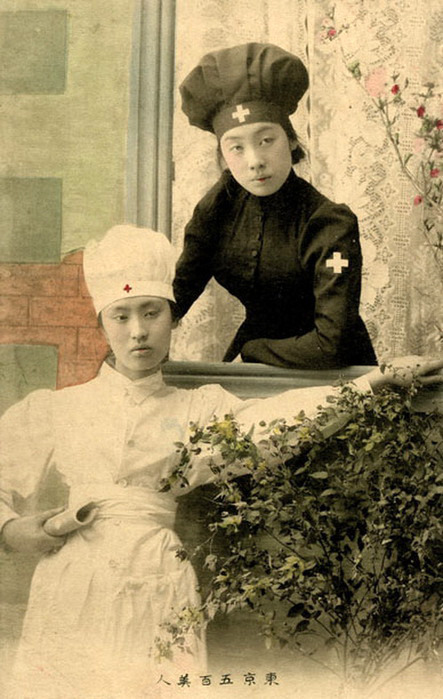 "1901-a-space-odyssey:  ""Nurses""""The picture postcards of the Russo-Japanese War (1904-05) ushered in a new age of celebrity on the Japanese side, in which heroes were accompanied by heroines. The latter almost always tended to be Red Cross nurses, who played many symbolic roles. The Red Cross affiliation highlighted Japan's new internationalism. Depictions of Japanese nurses providing aid and solace to wounded Russian prisoners were intended to demonstrate modern Japan's humanitarianism. And, predictably, the nurses were invariably good-looking."" (source)"