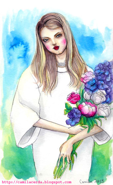 *I want to buy you flowers* Watercolor, ink pen Illustration by Camila Cerda
