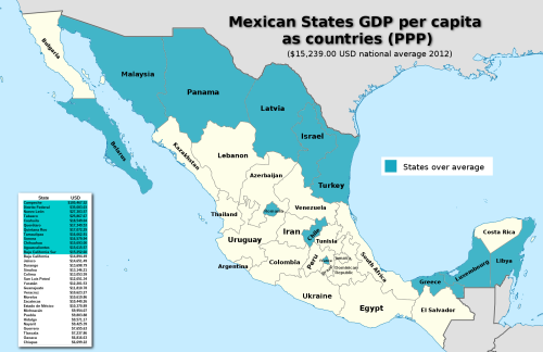 mapsontheweb:  Mexican States GDP Per Capita matching similar countries