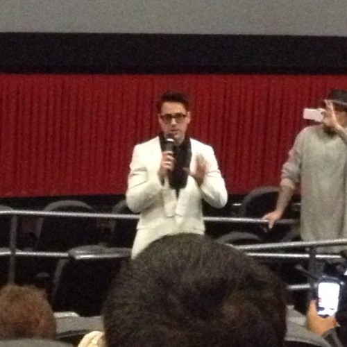 Oh hey, Robert Downey, Jr. at the Iron Man 3 screening… #rdj #ironman #marvel #disney #movies #filmsnob