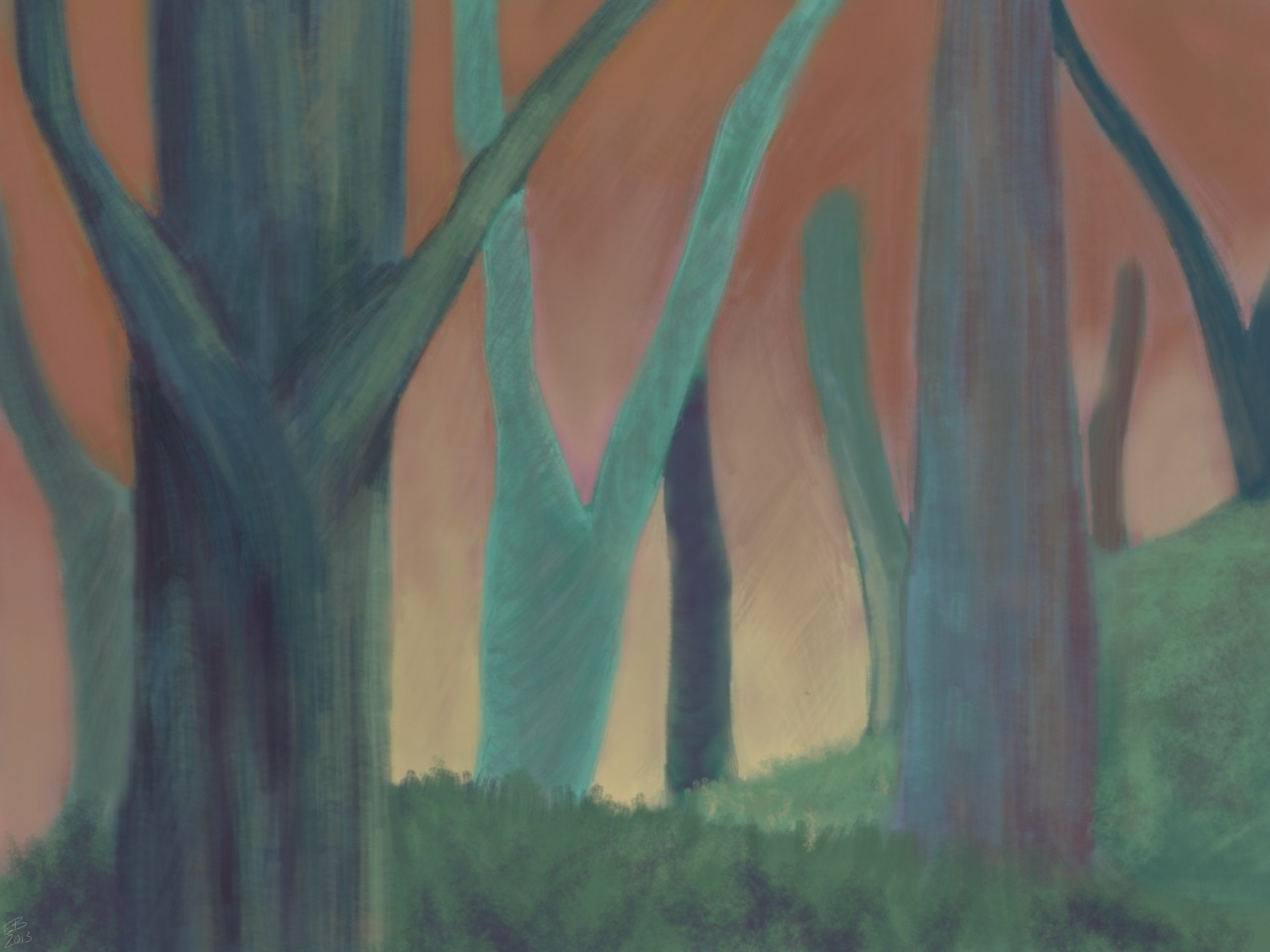 ponybattlelord:  Abstraction of trees at sunset. Study One hour  reblogging from personal