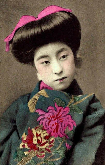 "EIRYU — QUEEN of the POSTCARD GEISHAS (1) by Okinawa Soba on Flickr.Via Flickr: Judging by the amount of photographs and postcards found today that depict this young Meiji-era Geisha, she rivaled all others for popularity. The sampling of postcard images in this EIRYU Set are all from postcards about 100 years old or more, and represent only a few of the many that may be found.www.flickr.com/photos/24443965@N08/sets/72157623479583013/ Most are hand colored collotype prints, but a few are gelatin silver prints. Although other Maiko and Geisha might have been more famous, it is hard to beat the photographs of EIRYU for getting a wider variety of poses, Kimonos, and props. 22 of these just posted to a NEW SET + one added from elsewhere on the photostream. This will take us through the weekend.  Enjoy ! PS.  Want to know what EIRYU and all of her friends and ""sisters"" did as a real Geisha ? Read this, and feel a bit closer to her and all the other girls :  www.flickr.com/photos/24443965@N08/2802613366/  Ca.1908-12 hand-colored collotype print."