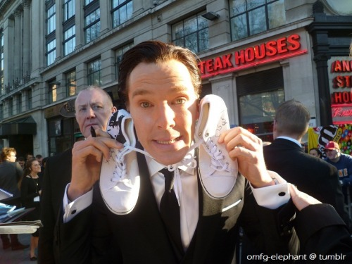 "omfg-elephant:  1. DECORATE SHOES FOR FRIEND WITH THE CUMBERFACE  2. GO TO STAR TREK PREMIERE @ LEICESTER SQUARE 3. ???? 4. PROFIT!!! (MORE LIKE DISCOVER GIFS AND A VIDEO OF BC WITH SAID SHOES MADE IT TO TUMBLR/YOUTUBE BEFORE I EVEN GOT HOME? OH GOD.) He's such a sweetheart! :D He signed one shoe first, then he suggested signing both of them and my brain just went offline. HOW IS HE REAL. I explained I made them for a friend of ours who couldn't be there with us, b-but I can't remember what he replied sobs. I'M SORRY. I asked if I could take a picture with him & the shoes but totally expected him to say ""sorry, no time!"" so I was completely unprepared & totally failed at it. I was having trouble balancing my SFX book on one arm while holding up the shoes near him and aiming my camera at both with my other arm (and trying not to accidentally elbow anyone!)… so he just reached for the shoes and ACTUALLY POSED WITH THEM. OMFG. Woah. BLOWN AWAY. HE IS SO AWESOME. AND ADORKABLE. :)"