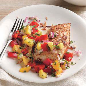 Give chicken breast a sweet coconut coating and serve with a mango, red bell pepper and red onion salsa for a super colorful plate. Daily Bite: Coconut-Crusted Chicken