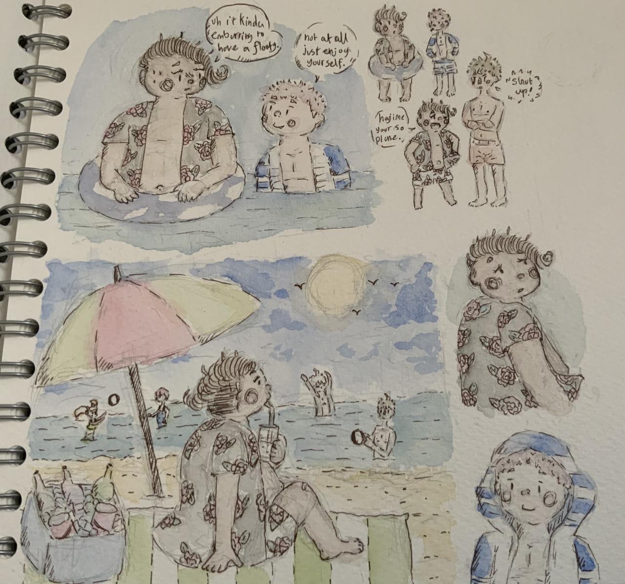 Here some drawings of teruteru, ryoma and hajime in there swim wear enjoying the beach. #teruteru hanamura#teruteru#ryoma hoshi#Hajime Hinata#danganronpa