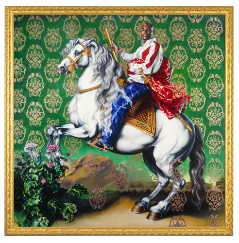 Kehinde Wiley. Wow. http://www.kehindewiley.com/Rumors_of_War/Prince_Tommaso.html