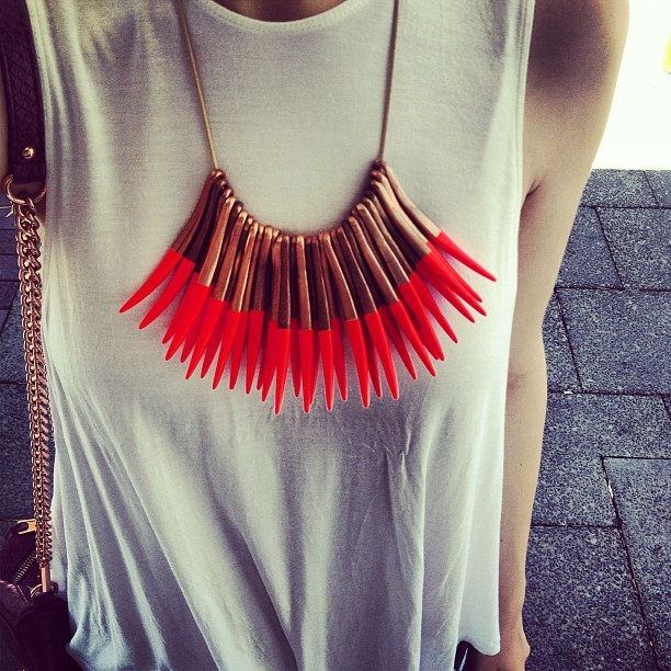lue-lla:  velvet-fridays:  Outfit: Sass and bide necklace, Alice Mccall tank top and Rebecca Minkoff bag