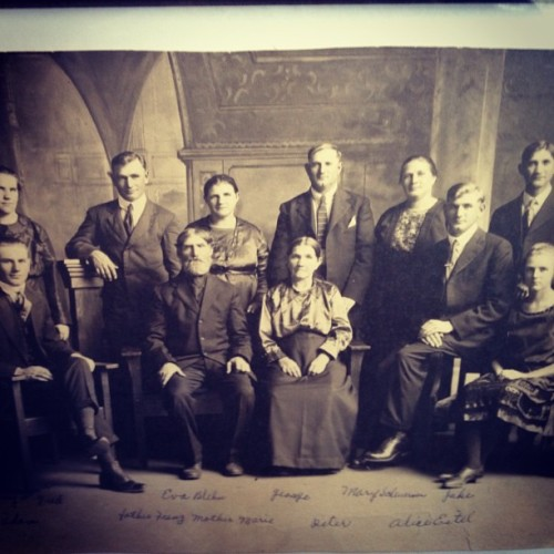 My descendants. Took in the early 1900's. My great great grandmother is on the lower right row.