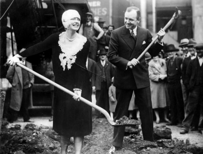 Oakland, CA March 2, 1928 - Dale Winter and husband Henry Duffy break ground for the Dufwin Theater at Seventeenth Street, between Telegraph and San Pablo. (Mose Cohen / Oakland Tribune)