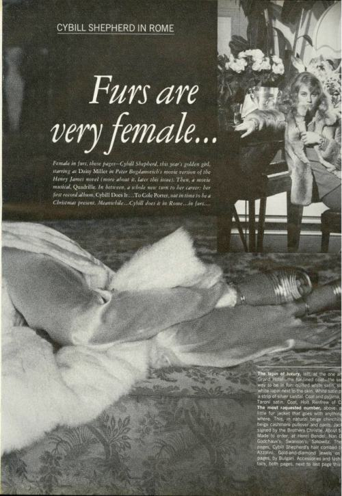 "Cybill Shepherd ""Furs Are Very Female…"" Vogue US, November 1973  Photos by Helmut Newton"
