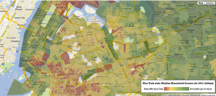 fastcompany:  Here's an interactive map that shows the median income of every neighborhood in the U.S.  Rich Blocks, Poor Blocks is an interactive map showing the average income for every neighborhood in America. Type in your address, press search, and there you have it: Your city, shaded by income, according to data from an annual survey conducted by the Census Bureau. The greenest blocks—Census blocks, that is, not city blocks—signify the richest areas, typically bringing in an average household income of $100,000 or more a year. The reddest blocks are the poorest, with annual income somewhere around $20,000. All the rest get some shade of red or green, depending where they fall. Check out the full story here.