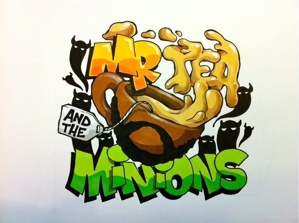 Mr Tea & The Minions logo, drawn by the very talented Cheo. https://www.facebook.com/Cheo.Bristol https://www.facebook.com/MrTeaAndTheMinions https://soundcloud.com/mr-tea-the-minions