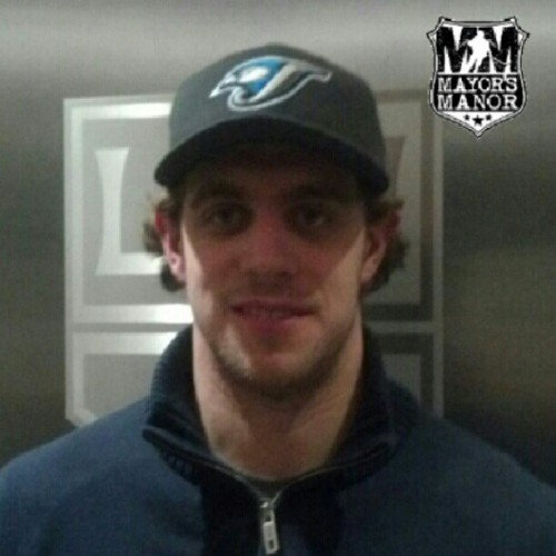 Anze Kopitar in a Blue Jays Hat