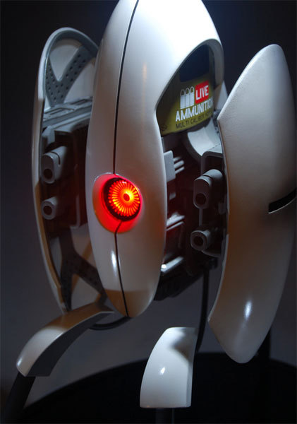 "otlgaming:  PORTAL 2 TURRET STATUE Product Specifications Straight from the Aperture Science Turret Sanctuary Perfect for any bookshelf or end table, as long as he has full vision of his family members most hours Programmed for high levels of politeness and compliment, but most come with naturally occurring bugs like fear, anxiety, and depression due to sentience Each piece is hand-finished and hand-painted Materials: High quality polystone Dimensions: 16"" tall US $299 (via gamefreaksnz)"