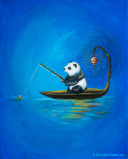 Panda Fishing This painting depicts a panda who is fishing on the lake in tranquility of the morning. He just doesn't fancy the taste of plain bamboo. Mr. Panda is a gourmand, so bamboo stuffed fish is more like it. Acrylic on stretched canvas. 8 x 10 in, 0.6 in thick.