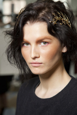 Katlin Aas backstage at Rodarte F/W 2012-13.