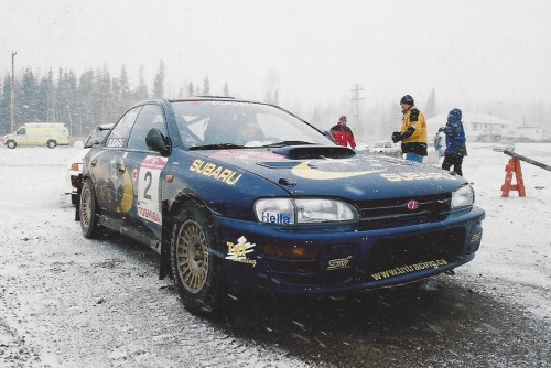 birdsean:  This photo was taken in America. Look at all the visible Prodrive bits. You don't see builds like this in North American rallying anymore. Fun fact: Prodrive used to solely campaign Subaru rally team USA, from 2001-03, until the death of BRC champion Mark Lovell & his co-driver Roger Freeman on the 2003 Oregon Trail rally. Subaru took a break in 2004 & reopened their partnership with Vermomt Sports Cars in 2005.   Car ADD.