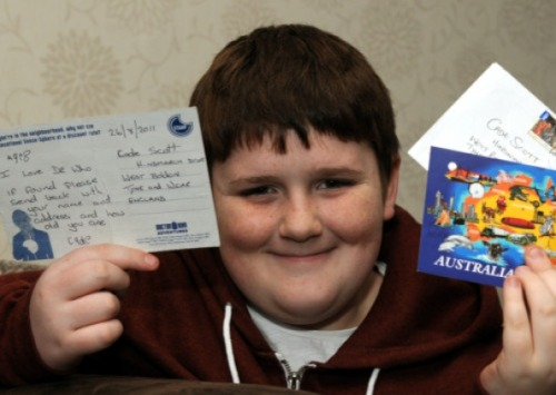 Boy puts a Doctor Who postcard in a bottle, throws it out to sea, it travels 9,000-miles to Perth, Australia  Cade Scott, nine, from West Boldon, was inspired to fill an empty wine bottle with a Doctor Who postcard and let it loose at Roker Harbour on August 26, 2011, after hearing of a miracle missive that had made its way to Norway. Cade's bottle went from home turf to Perth, where it provided an extra Christmas gift to an unsuspecting Aussie. The Doctor Who postcard was swiftly despatched back to the borough on January 7, with a note from its recipient, Matthew Elam, reaching Cade on Saturday, January 12.